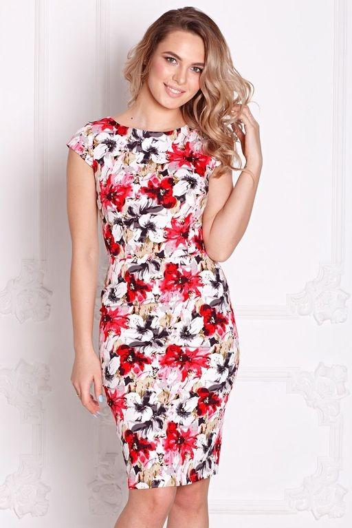 Белое платье-футляр с цветочным принтом без рукавов sz00039wh-1