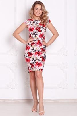 Белое платье-футляр с цветочным принтом без рукавов заказать с бесплатной доставкой