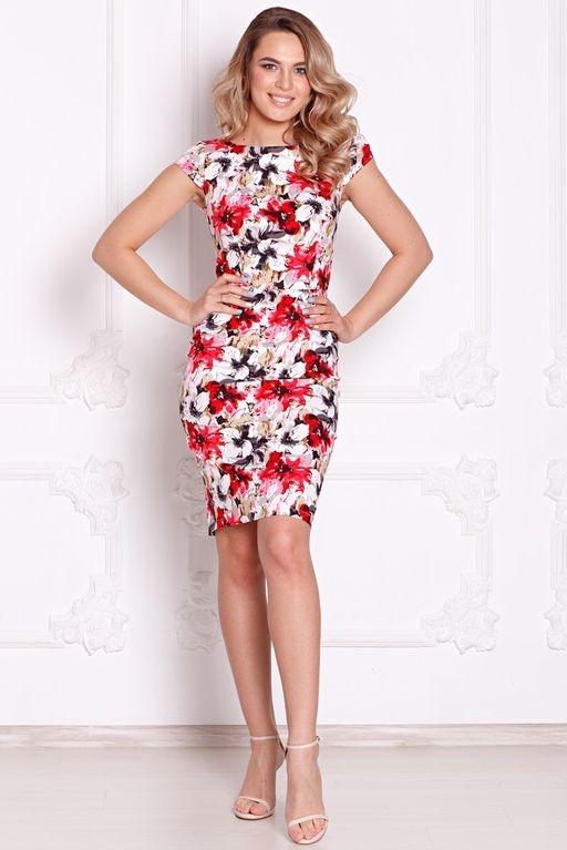 Белое платье-футляр с цветочным принтом без рукавов sz00039wh-2