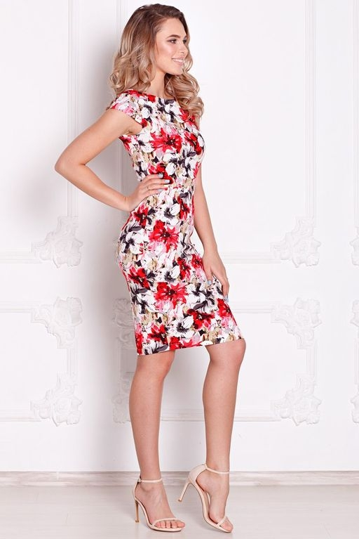 Белое платье-футляр с цветочным принтом без рукавов sz00039wh-3