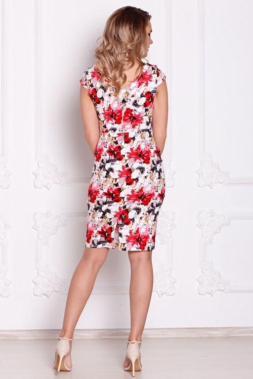 Белое платье-футляр с цветочным принтом без рукавов sz00039wh-4
