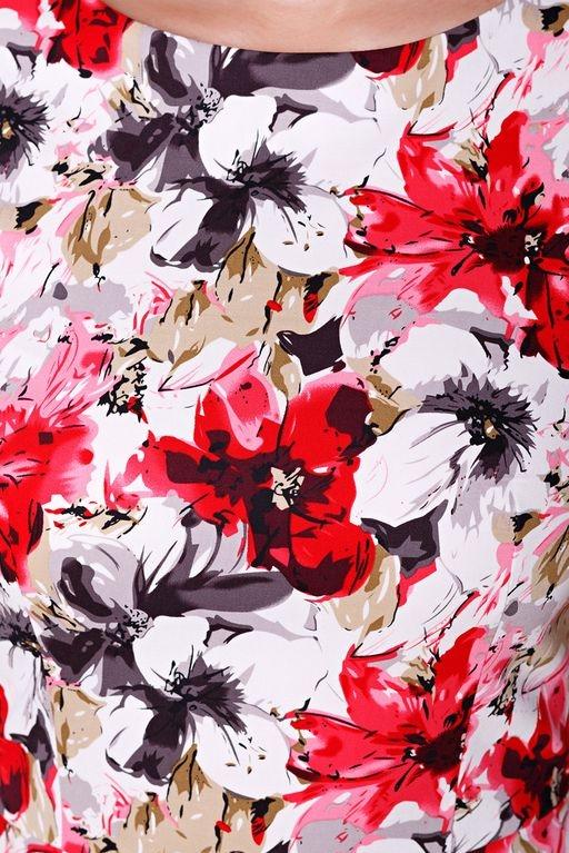 Белое платье-футляр с цветочным принтом без рукавов sz00039wh-5