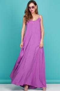 Длинный сарафан пурпурного цвета с оригинальной спинкой купить в интернет-магазине