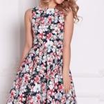 Темно-синее платье миди с цветочным принтом без рукавов sz00126db-1