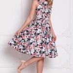 Темно-синее платье миди с цветочным принтом без рукавов sz00126db-2