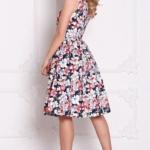 Темно-синее платье миди с цветочным принтом без рукавов sz00126db-3
