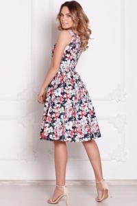 Купить Темно-синее платье миди с цветочным принтом без рукавов с примеркой