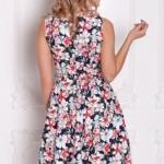 Темно-синее платье миди с цветочным принтом без рукавов sz00126db-4