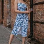 Белое платье-футляр с цветочным принтом из хлопка на тонких бретелях ds00326fl-3