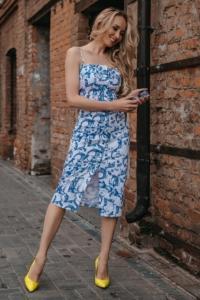 Заказать Белое платье-футляр с цветочным принтом из хлопка на тонких бретелях с бесплатной доставкой