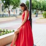 Красное платье в пол в греческом стиле из шифона zd00288rd-1