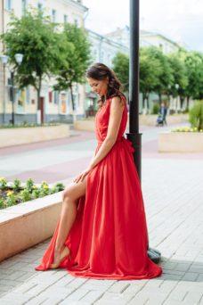 6ce9b5747f1 ... Красное платье в пол в греческом стиле из шифона купить в интернет- магазине