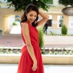 Красное платье в пол в греческом стиле из шифона zd00288rd-2