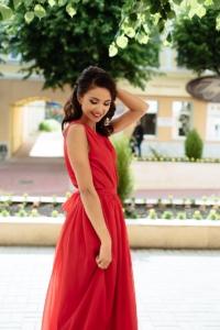 Красное платье в пол в греческом стиле из шифона заказать с примеркой