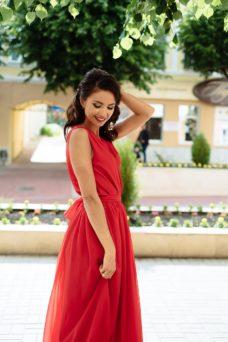 5d4be0d5ed1 Красное платье в пол в греческом стиле из шифона заказать с примеркой ...