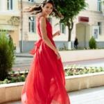 Красное платье в пол в греческом стиле из шифона zd00288rd-3
