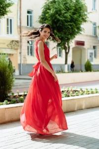 Купить Красное платье в пол в греческом стиле из шифона с бесплатной доставкой