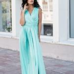 Мятное платье в пол в греческом стиле из шелка zd00238mn-1