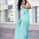 Мятное платье в пол в греческом стиле из шелка zd00238mn-2