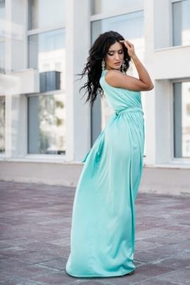Заказать Мятное платье в пол в греческом стиле из шелка с примеркой