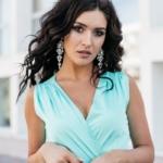 Мятное платье в пол в греческом стиле из шелка zd00238mn-3