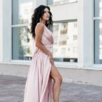 Пудровое платье в пол в греческом стиле из шелка zd00238pw-2