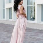 Пудровое платье в пол в греческом стиле из шелка zd00238pw-3