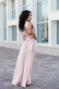 Купить Пудровое платье в пол в греческом стиле из шелка с бесплатной доставкой