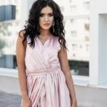 Пудровое платье в пол в греческом стиле из шелка zd00238pw-4