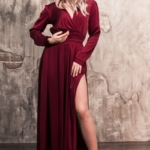 Вишневое платье в пол в греческом стиле с длинными рукавами zd00368ch-1
