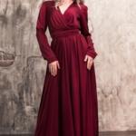 Вишневое платье в пол в греческом стиле с длинными рукавами zd00368ch-2