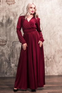 Вишневое платье в пол в греческом стиле с длинными рукавами заказать с примеркой