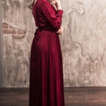 Вишневое платье в пол в греческом стиле с длинными рукавами zd00368ch-3