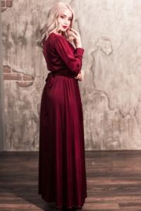 Купить Вишневое платье в пол в греческом стиле с длинными рукавами в интернет-магазине