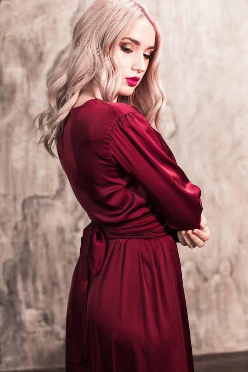 Купить Вишневое платье в пол в греческом стиле с длинными рукавами с бесплатной доставкой