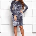 Бархатное платье-футляр серого цвета с драпировкой и длинными рукавами sz00138gy-2