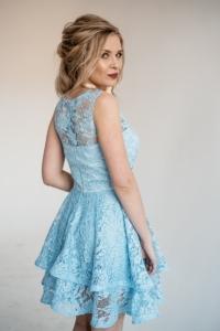 Купить Голубое кружевное платье мини без рукавов с пышной юбкой с бесплатной доставкой