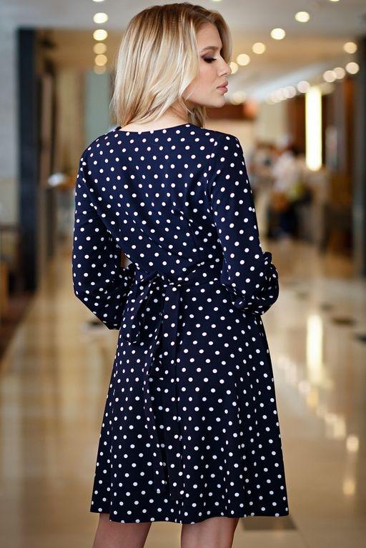 Короткое платье с запахом темно-синего цвета в горошек sz00168db-4