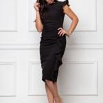 Платье-футляр черного цвета длины миди с драпировкой и воланами sz00037bk-1