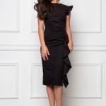 Платье-футляр черного цвета длины миди с драпировкой и воланами sz00037bk-2