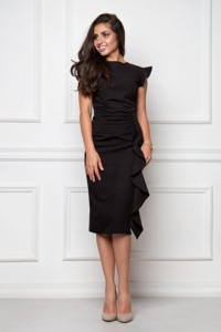 Платье-футляр черного цвета длины миди с драпировкой и воланами заказать с примеркой
