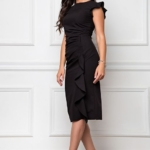Платье-футляр черного цвета длины миди с драпировкой и воланами sz00037bk-3