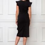 Платье-футляр черного цвета длины миди с драпировкой и волана миsz00037bk-4