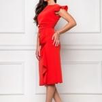 Платье-футляр красного цвета длины миди с драпировкой и воланами sz00037rd-2