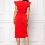 Платье-футляр красного цвета длины миди с драпировкой и воланами sz00037rd-3