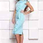 Платье-футляр ментолового цвета длины миди с драпировкой и воланами sz00037mn-3