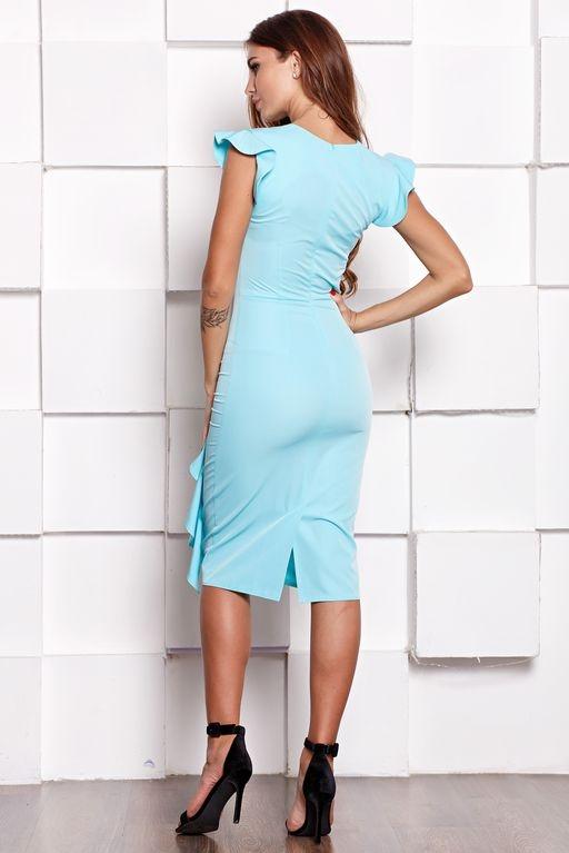 Платье-футляр ментолового цвета длины миди с драпировкой и воланами sz00037mn-4