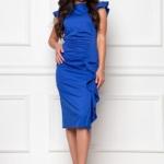 Платье-футляр синего цвета длины миди с драпировкой и воланами sz00037bl-1