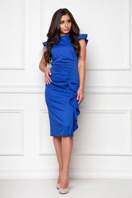 Платье-футляр синего цвета длины миди с драпировкой и воланами купить в интернет-магазине