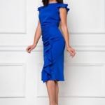 Платье-футляр синего цвета длины миди с драпировкой и воланами sz00037bl-2